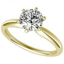 wedding photo - A Perfect 14K Yellow Gold 2CT Round Cut Solitaire Russian Lab Diamond Ring