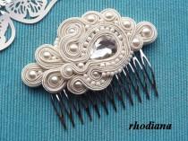wedding photo - ECRU/IVORY Soutache comb,  Wedding Hair Accessory, Soutache , Wedding Hair