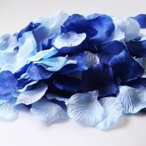wedding photo - 600PCS Mixed Royal Blue & Aqua Blue Silk Rose Petals Wedding Flowers Party Centerpieces Table Scatters Bridal Shower Decoration Favor