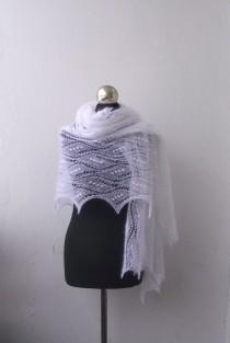 wedding photo - Wedding shawl, White knit lace shawl, hand knitted lace stole , bridal shawl, knit wedding shawl, white kid mohair shawl,bridal cover up