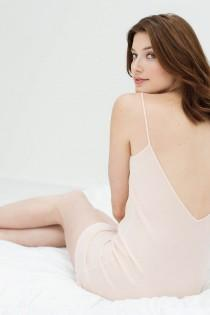 wedding photo - Lounge Pima Cotton Slip In Blush Pink - Style A12