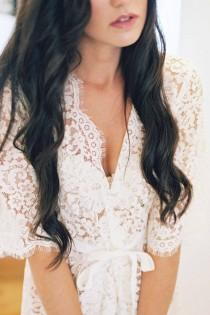 wedding photo - Elizabeth Bridal Lace Robe In Ivory - Style 120