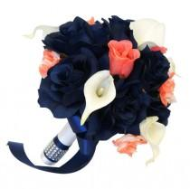 "wedding photo - 8"" Bouquet - Navy Blue and Coral Roses with White Calla Lilies - Artificial Bouquet"