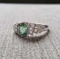 """wedding photo - Antique Diamond Mint Moissanite Engagement Ring White Gold 1920s Gemstone Rustic Bohemian PenelliBelle Blue Green Exclusive """"The Florence"""""""