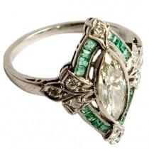 wedding photo - Art Deco Diamond And Emerald Engagement Ring