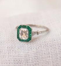 wedding photo - Art Deco Platinum Diamond And Emerald Engagement Ring 1.37 Carats