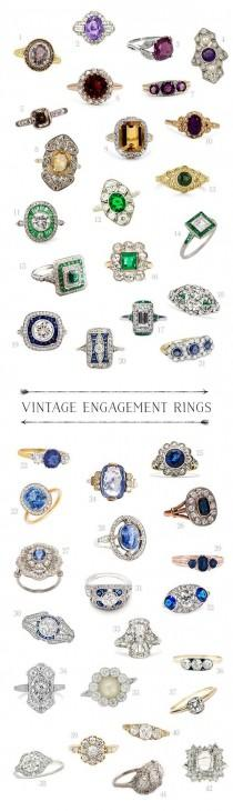 wedding photo - Kathryn Loves... A Rainbow Of Vintage Engagement Rings