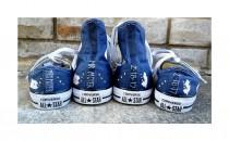 wedding photo - Something Blue Custom Bride Groom Home State Converse Wedding Converse Low High Tops Mr & Mrs Custom Converse wedding shoes Painted Converse