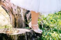 wedding photo - Wedding day sandals / bridal sandals / vegan sandals / vegan shoes / low heel shoes / pearl coloured sandals / comfortable