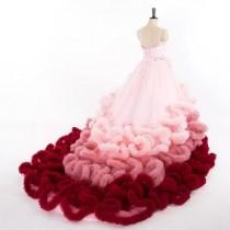 wedding photo - Fluffy Boa Bridal Wedding Dress