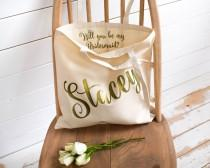 wedding photo - Will you be my Bridesmaid? Wedding Gift - Personalised Tote Bag - Maid of Honour Gift - Personalized Wedding Tote Bag - Pop the Question