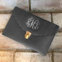 wedding photo - CHARCOAL CLUTCH BAG - Leather Purse - Wedding Clutch - Evening Bag - Clutch Purse - Envelope Bag - Monogrammed Clutch - Bridesmaid Gift