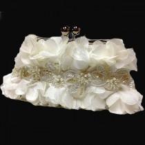 wedding photo - Bridal clutch, formal evening bag,  bridesmaid clutch, Ruffle clutch, bridesmaid bag, Ivory clutch, wedding accessory