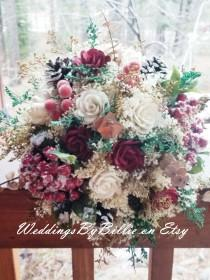 wedding photo - Fall Bouquets, Burgundy Cranberry Pinecone Bouquet, Burlap Lace,Sola Bouquet,Alternative Bouquet,Rustic Shabby Chic ,Bride, Keepsake Bouquet
