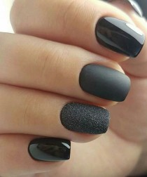 wedding photo - Super Awesome Mate Black And Glitter Nail Art Designs For Prom