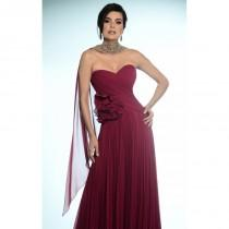 wedding photo - Cranberry Strapless Embellished Gown by Daymor Couture - Color Your Classy Wardrobe