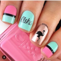 wedding photo - Flamingo Nail Decals/ Nail Stencils