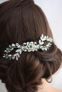 wedding photo - Wedding Hair Comb Emerald Green Crystal Bridal Headpiece Vintage Vine Comb Crystal Headpiece Wedding Hair Accessories  SPLENDID SABINE COMB