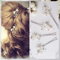 wedding photo - White Flower Wedding hair pins,hair vine,pins, Bridal hair pins, hair pins, Bridal headpiece,Bridal hairpiece Wedding hair3