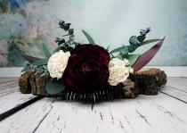 wedding photo - Preserved eucalyptus hair comb Ivory dark burgundy boho wedding Bridal hairpiece Sola Flower greenery accessory maroon - $45.00 USD