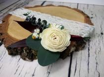wedding photo - Natural wedding groom's boutonniere preserved eucalyptus ivory sola rose flower greenery fall winter vintage elegant - $16.00 USD