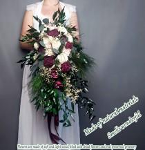 wedding photo - Retro boho long cascading wedding bouquet burgundy ivory preserved greenery sola flowers ruscus eucalyptus gypsophila vintage style bridal - $210.00 USD
