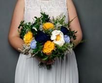 wedding photo - Sunny yellow navy blue and vibrant green wedding bouquet preserved greenery sola flowers dried flowers sola satin ribbon bridal summer - $150.00 USD