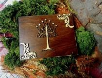wedding photo - White tree of life wedding rings box Tolkien theme moss ring bearer personalized writings laser cut sola flowers natural woodland Celtic - $43.00 USD