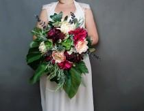 wedding photo - Burgundy fuchsia peach cream tropical flowers wedding bridal bouquet cascade greenery dahlia rose ferns eucalyptus monstera banana leaf big - $200.00 USD