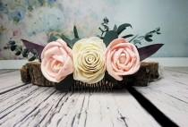 wedding photo - Ivory blush pink rose boho wedding HAIR COMB Bridal hairpiece Sola Flower eucalyptus greenery accessory maroon stabilized greenery - $46.00 USD