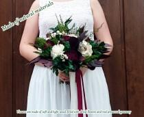 wedding photo - Preserved greenery burgundy wedding bouquet natural dried flowers eucalyptus sola boho vintage style long ribbons original bridal medium - $140.00 USD