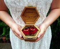 wedding photo - Burgundy rose ring bearer box woodland moss sola flowers rings box cotton lace shabby chic brown natural customized personalized writing - $35.00 USD