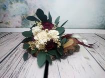wedding photo - Small boho bridesmaid wedding bouquet dark wine ivory sola flowers preserved eucalyptus gypsophila dried flowers vintage style long ribbons - $42.00 USD