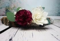 wedding photo - Stabilized eucalyptus burgundy ivory hair comb sola flowers boho wedding Bridal hairpiece greenery accessory maroon wine - $38.00 USD