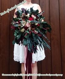 wedding photo - Wild boho big wedding bouquet preserved eucalyptus Burgundy wine pink blush dried flowers sola poppy heads vintage style long ribbons bridal - $360.00 USD