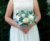 wedding photo - Rustic succulents wedding bouquet sola flowers dusty miller flocked leaf greenery ivory elegant simple classy bridal burlap lace natural eco - $150.00 USD