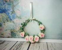 wedding photo - Wedding rustic greenery wreath centerpiece hanging backdrop decor floral arrangement country barn wedding pink roses romantic simple cheap - $35.00 USD