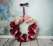 wedding photo - Wedding floral wreath centerpiece hanging backdrop arrangement vintage fall burgundy marsala blush pink roses decor romantic home decor - $70.00 USD