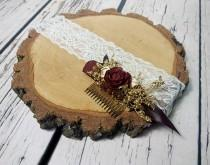 wedding photo - Burgundy gold preserved eucalyptus HAIR COMB cedar rose dried flowers tiny cones sola rustic woodland wedding burlap hair piece bridal - $30.00 USD