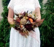 wedding photo - Fall Sola Flowers Rose Wedding Bouquet Chocolate Brown Bridal Bridesmaid, Dried Flower Autumn Bouquet, Preserved Greenery, Skeleton Leafs - $70.00 USD