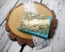 wedding photo - Moss and birch bark rings box for woodland wedding infinity sign love wood slices sola flowers ring bearer personalized writing natural - $41.00 USD