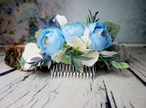 wedding photo - Pastel blue white greenery cold green rustic HAIR COMB silk flowers peony ranunculus hydrangea dusty miller hair piece bridal accessory - $36.00 USD