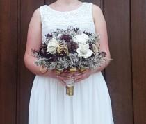 wedding photo - BIG ivory burgundy wine gold rustic elegant autumn fall winter woodland wedding BOUQUET sola flower pine cone cedar rose pearls satin ribbon - $155.00 USD