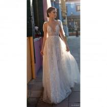 wedding photo - Gali Karten 2018 Ivory Sweep Train Sexy Spaghetti Straps Aline Sleeveless Tulle Embroidery Dress For Bride - Rosy Bridesmaid Dresses