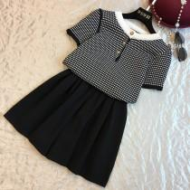 wedding photo - Vogue Attractive Solid Color Trail Dress Jersey Lattice Outfit Twinset Knitted Top Short - Discount Fashion in beenono