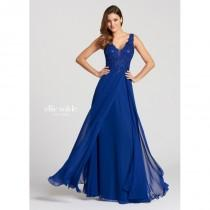 wedding photo - Ellie Wilde - EW118150 Illusion Appliqued Bodice Chiffon A-Line Gown - Designer Party Dress & Formal Gown