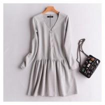 wedding photo - Oversized Slimming V-neck Jersey Zipper Up Cotton Frilled Dress Basics - Discount Fashion in beenono