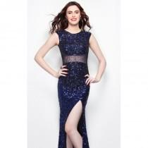 wedding photo - Midnight Embellished Slit Gown by Primavera Couture - Color Your Classy Wardrobe