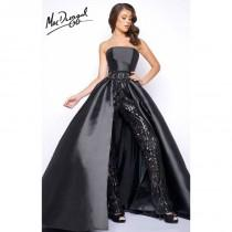 wedding photo - Black Mac Duggal 11039M - Romper Long Sequin Dress - Customize Your Prom Dress