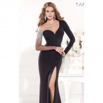 wedding photo - Black Embellished Slit Gown by Tarik Ediz - Color Your Classy Wardrobe